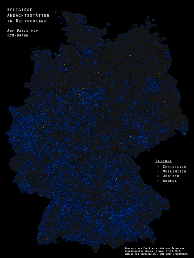 Places of worship in Germany (OSM data)