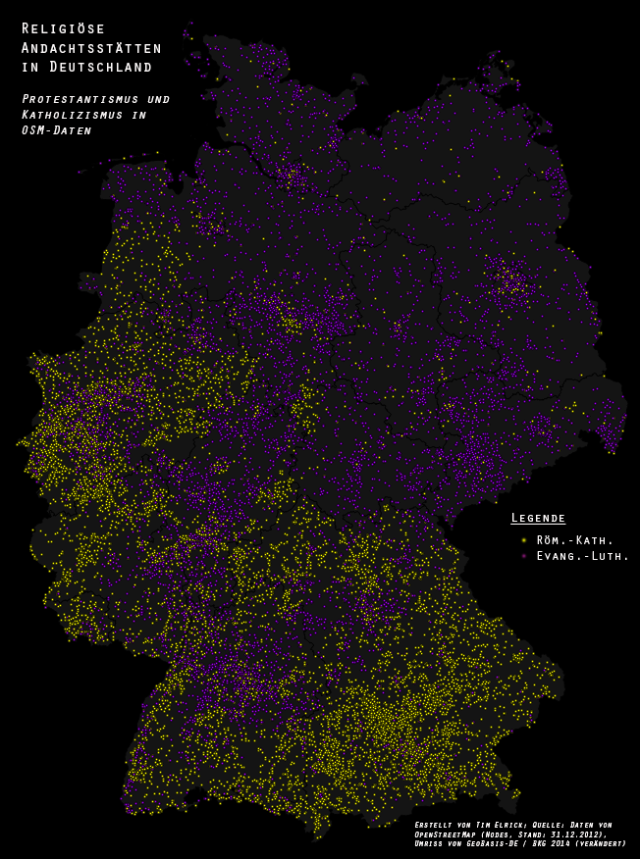 Protestant and Catholic places of worship in Germany